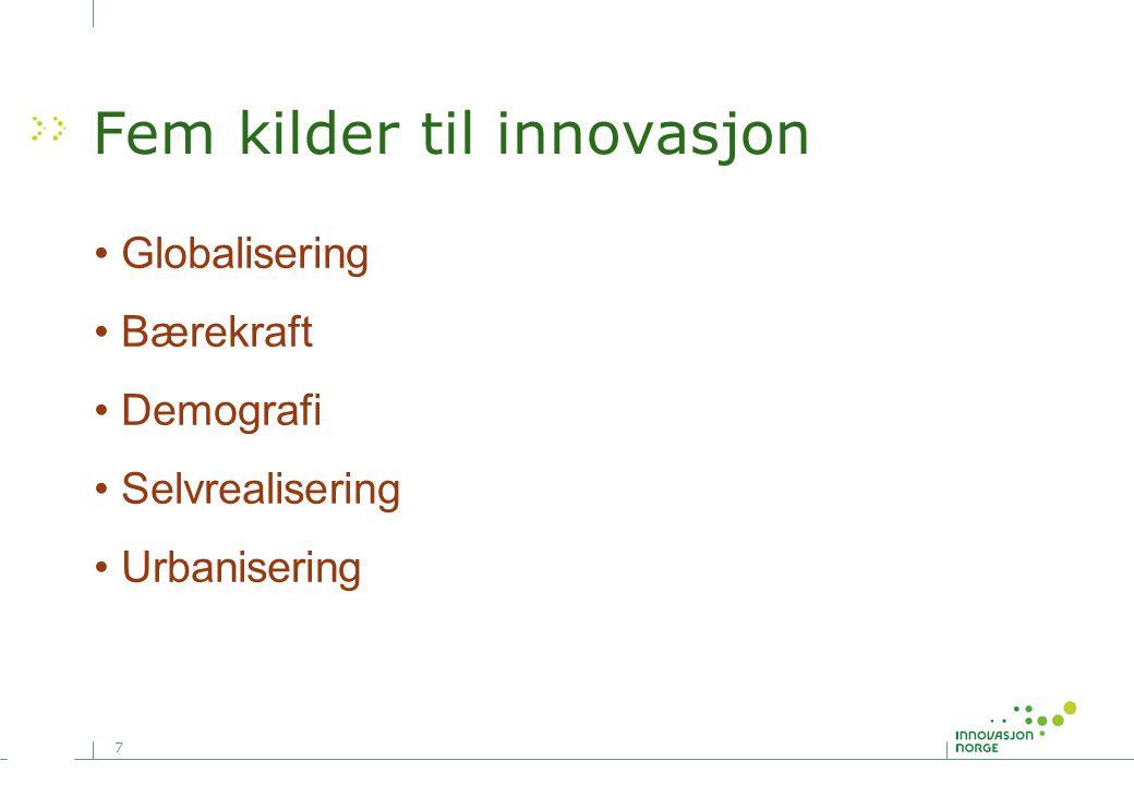 7 Fem kilder til innovasjon • Globalisering • Bærekraft • Demografi • Selvrealisering • Urbanisering