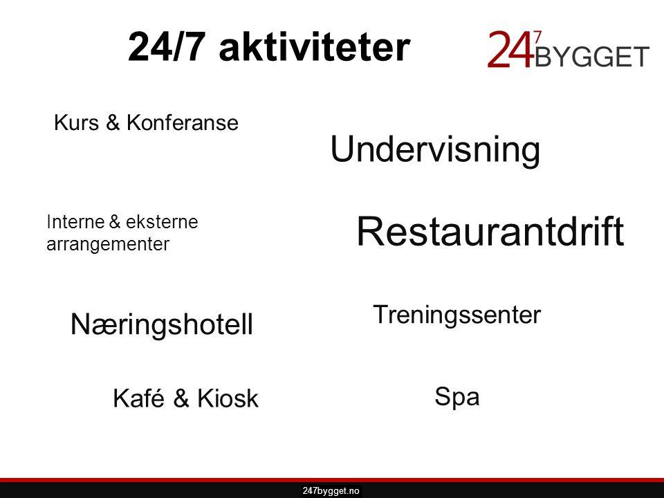 pdsprotek.no 24/7 aktiviteter Restaurantdrift 247bygget.no Undervisning Kurs & Konferanse Treningssenter Næringshotell Interne & eksterne arrangemente