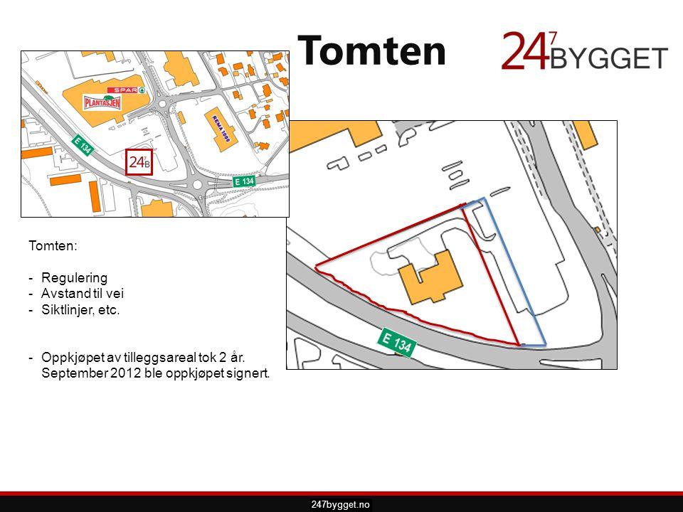pdsprotek.no Tomten 247bygget.no Tomten: -Regulering -Avstand til vei -Siktlinjer, etc. -Oppkjøpet av tilleggsareal tok 2 år. September 2012 ble oppkj