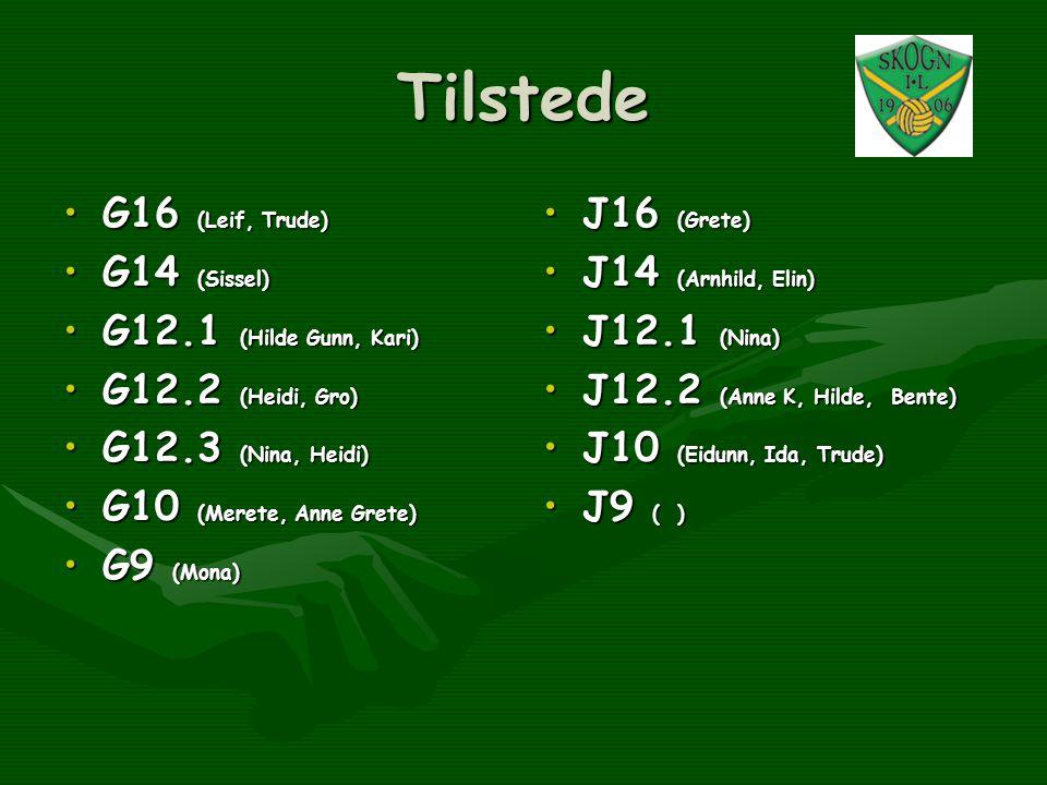 Tilstede •G16 (Leif, Trude) •G14 (Sissel) •G12.1 (Hilde Gunn, Kari) •G12.2 (Heidi, Gro) •G12.3 (Nina, Heidi) •G10 (Merete, Anne Grete) •G9 (Mona) •J16