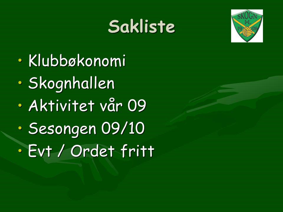 Sakliste •Klubbøkonomi •Skognhallen •Aktivitet vår 09 •Sesongen 09/10 •Evt / Ordet fritt