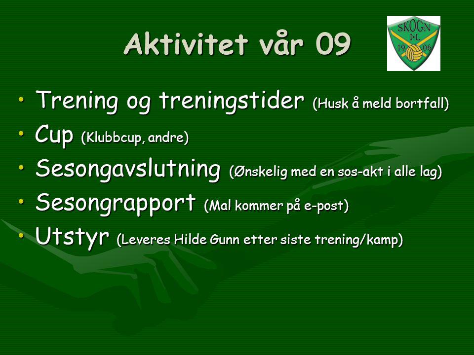Aktivitet vår 09 •Trening og treningstider (Husk å meld bortfall) •Cup (Klubbcup, andre) •Sesongavslutning (Ønskelig med en sos-akt i alle lag) •Seson