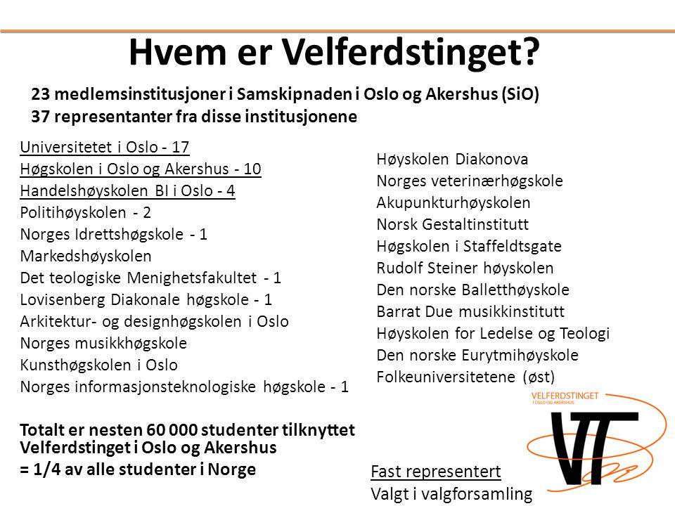 Hvem er Velferdstinget? Universitetet i Oslo - 17 Høgskolen i Oslo og Akershus - 10 Handelshøyskolen BI i Oslo - 4 Politihøyskolen - 2 Norges Idrettsh