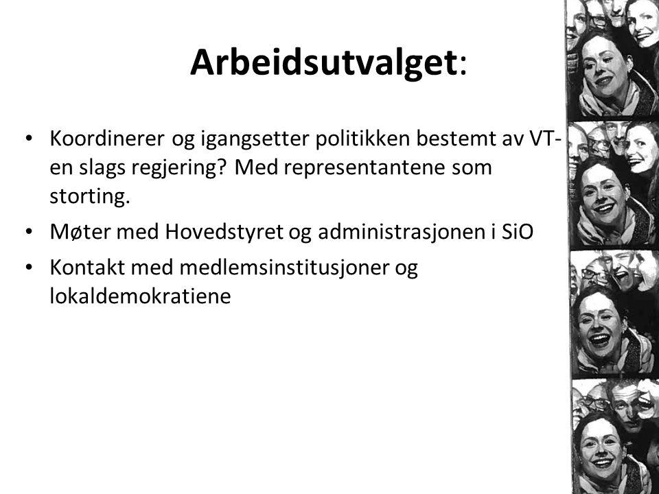 Arbeidsutvalget: • Koordinerer og igangsetter politikken bestemt av VT- en slags regjering? Med representantene som storting. • Møter med Hovedstyret