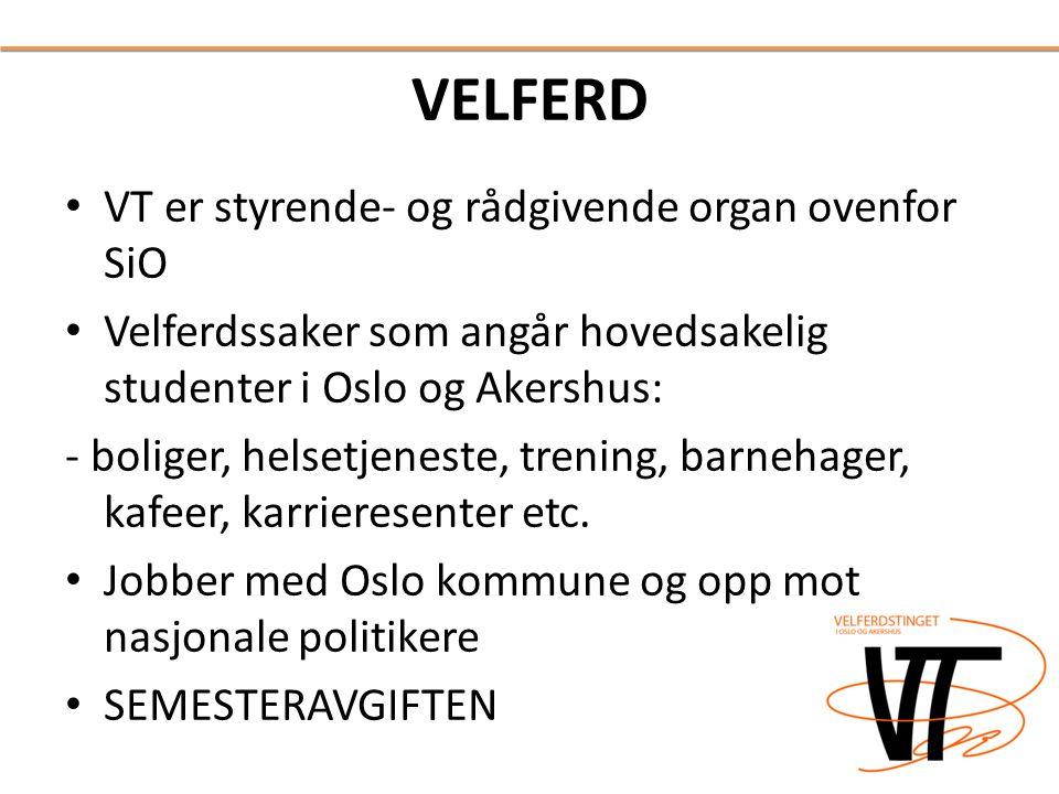 VELFERD • VT er styrende- og rådgivende organ ovenfor SiO • Velferdssaker som angår hovedsakelig studenter i Oslo og Akershus: - boliger, helsetjenest