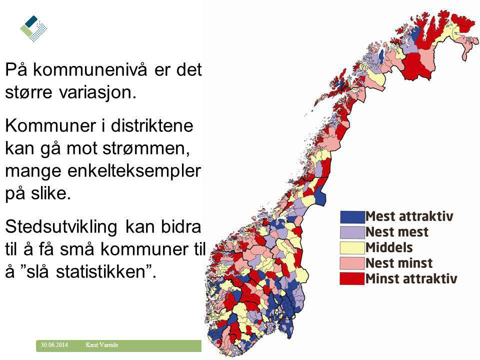 © Telemarksforsking telemarksforsking.no30.06.2014 26 Knut Vareide På kommunenivå er det større variasjon. Kommuner i distriktene kan gå mot strømmen,