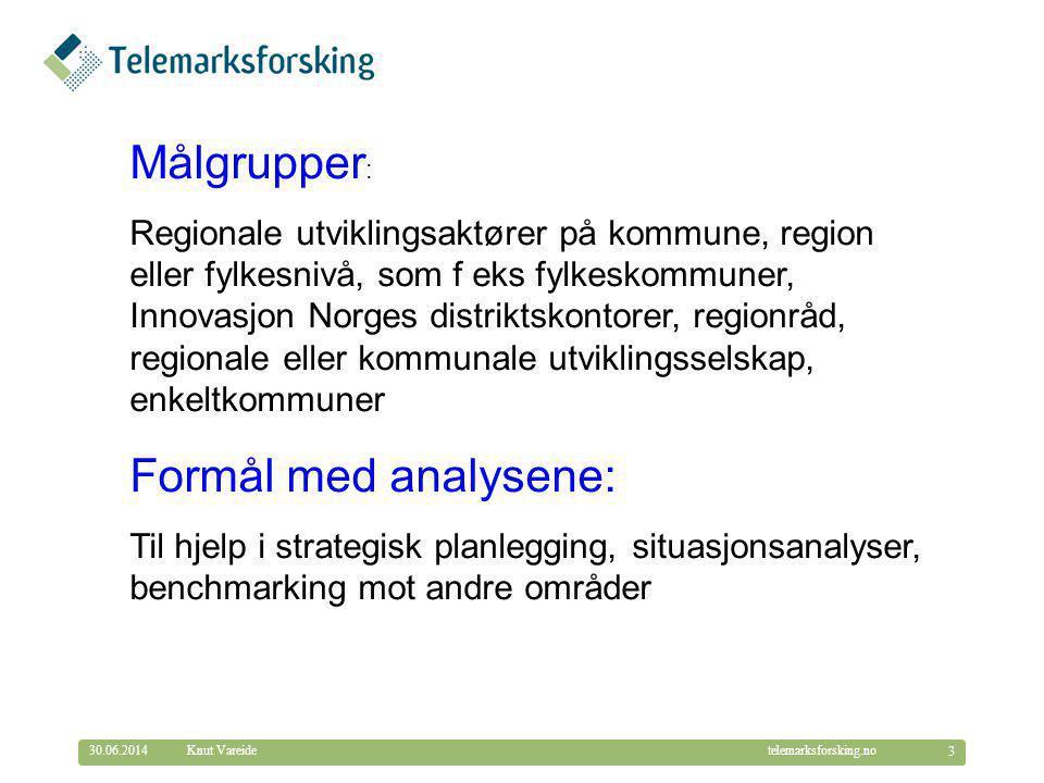 © Telemarksforsking telemarksforsking.no30.06.2014 3 Knut Vareide Målgrupper : Regionale utviklingsaktører på kommune, region eller fylkesnivå, som f