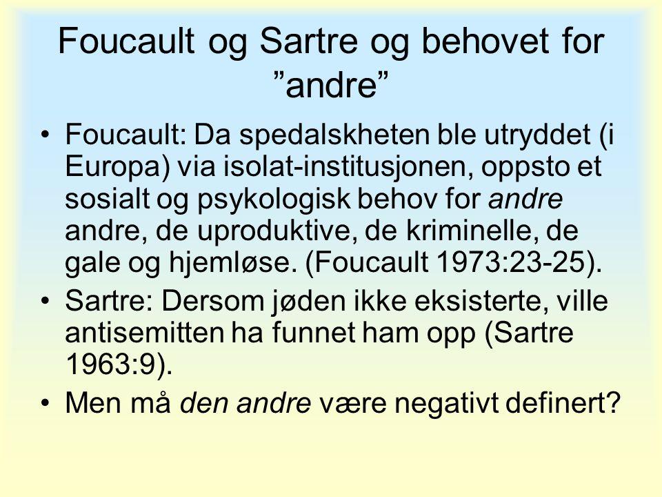 """Foucault og Sartre og behovet for """"andre"""" •Foucault: Da spedalskheten ble utryddet (i Europa) via isolat-institusjonen, oppsto et sosialt og psykologi"""