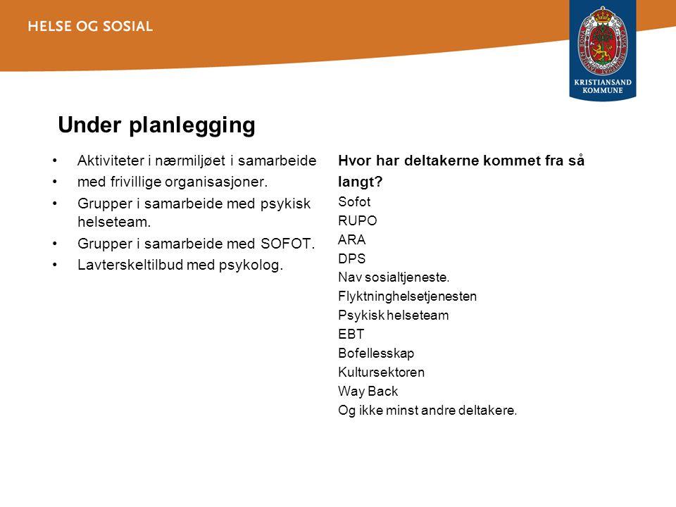 Under planlegging •Aktiviteter i nærmiljøet i samarbeide •med frivillige organisasjoner.