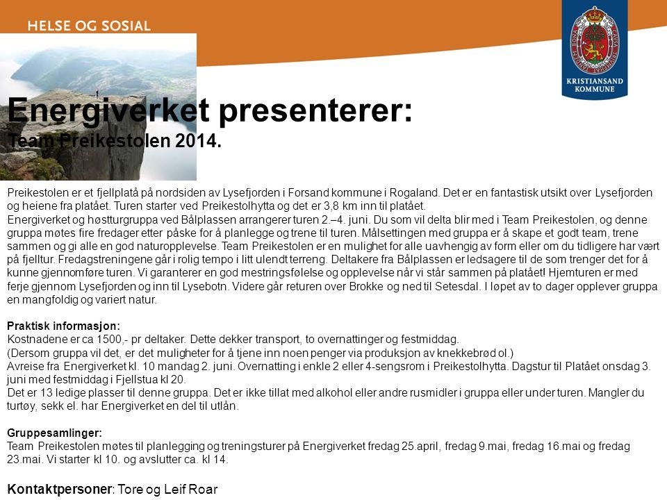 Energiverket presenterer: Team Preikestolen 2014. Preikestolen er et fjellplatå på nordsiden av Lysefjorden i Forsand kommune i Rogaland. Det er en fa