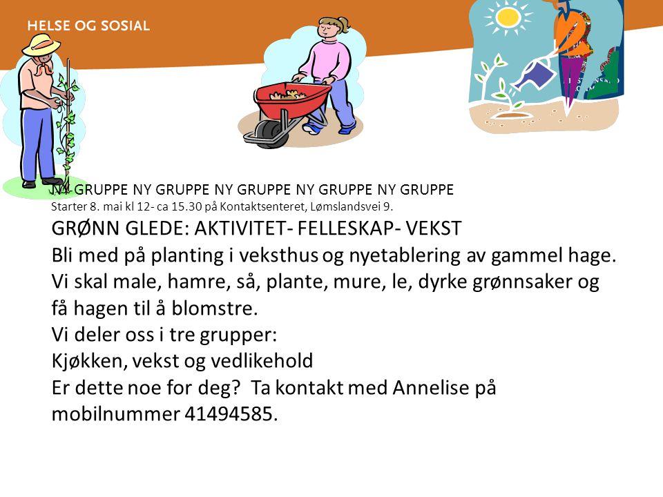 NY GRUPPE NY GRUPPE NY GRUPPE NY GRUPPE NY GRUPPE Starter 8. mai kl 12- ca 15.30 på Kontaktsenteret, Lømslandsvei 9. GRØNN GLEDE: AKTIVITET- FELLESKAP