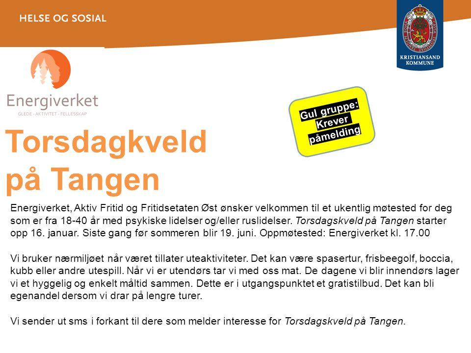 Gul gruppe: Krever påmelding Torsdagkveld på Tangen Kl. 17-19 på Energiverket Energiverket, Aktiv Fritid og Fritidsetaten Øst ønsker velkommen til et