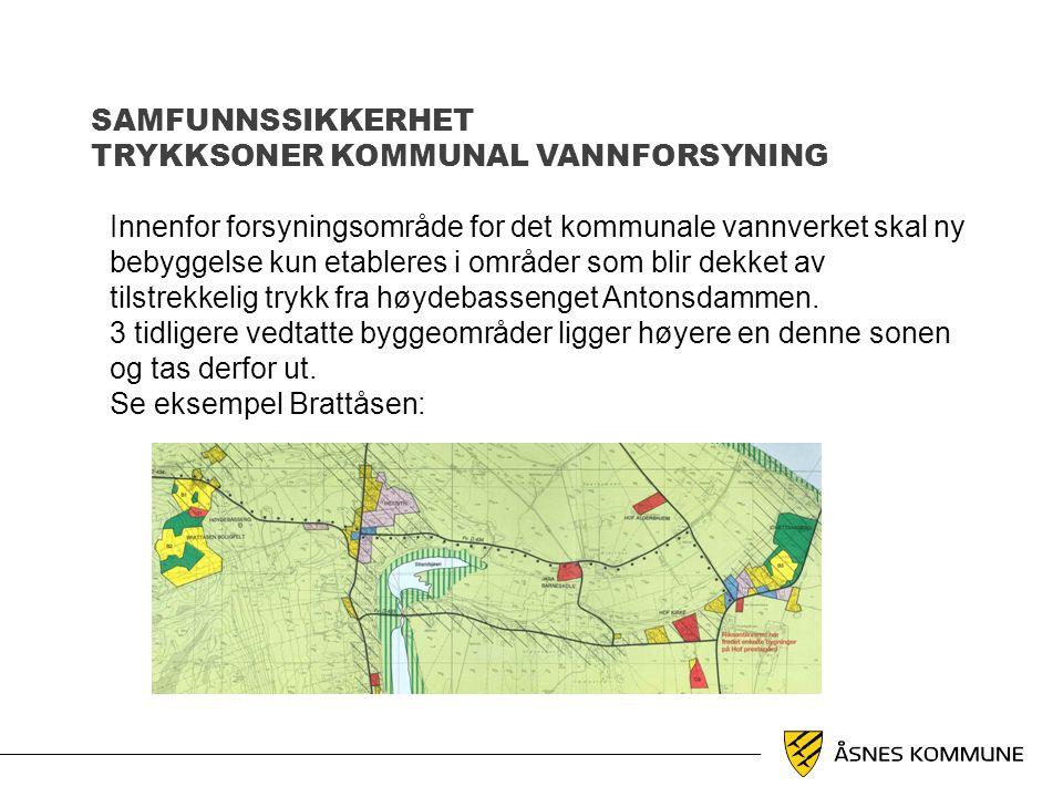 SAMFUNNSSIKKERHET TRYKKSONER KOMMUNAL VANNFORSYNING Innenfor forsyningsområde for det kommunale vannverket skal ny bebyggelse kun etableres i områder