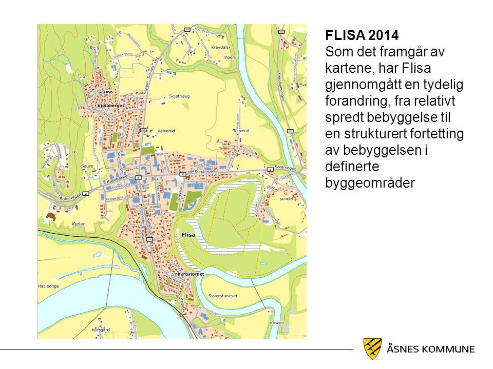 FLISA 2014 Som det framgår av kartene, har Flisa gjennomgått en tydelig forandring, fra relativt spredt bebyggelse til en strukturert fortetting av be