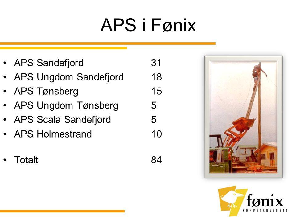 APS i Fønix •APS Sandefjord 31 •APS Ungdom Sandefjord 18 •APS Tønsberg 15 •APS Ungdom Tønsberg 5 •APS Scala Sandefjord 5 •APS Holmestrand 10 •Totalt 84
