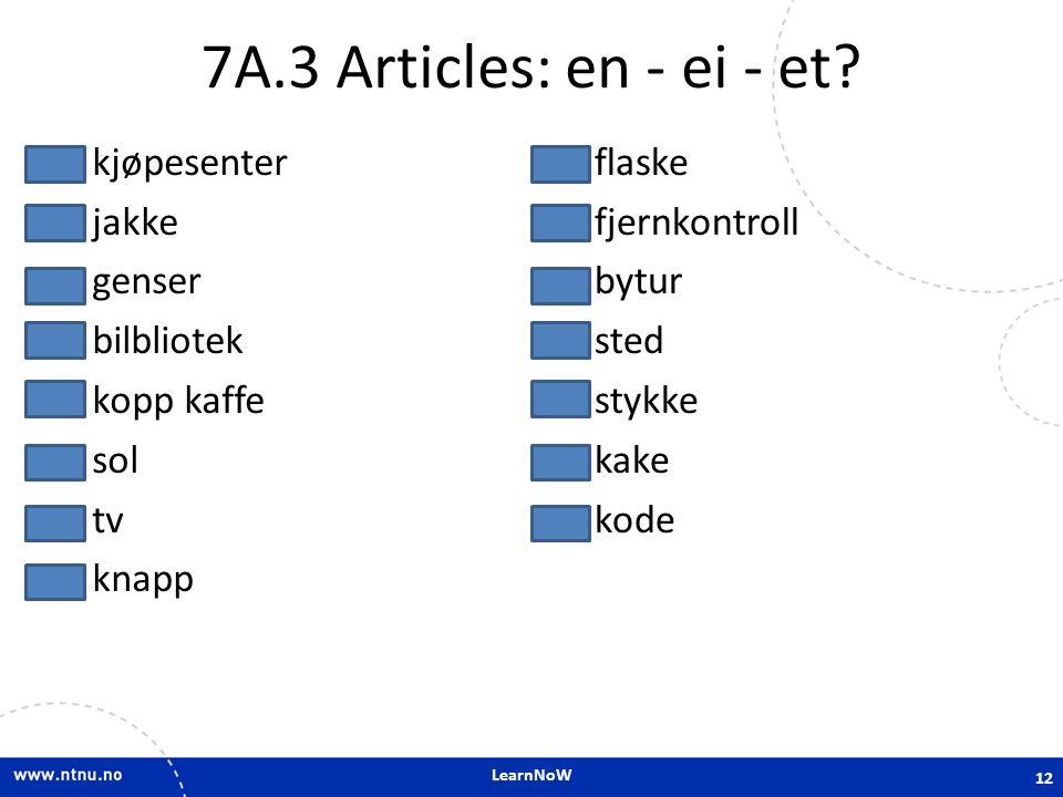 LearnNoW 7A.3 Articles: en - ei - et? etkjøpesenter eijakke engenser etbilbliotek enkopp kaffe eisol entv enknapp eiflaske enfjernkontroll enbytur ets