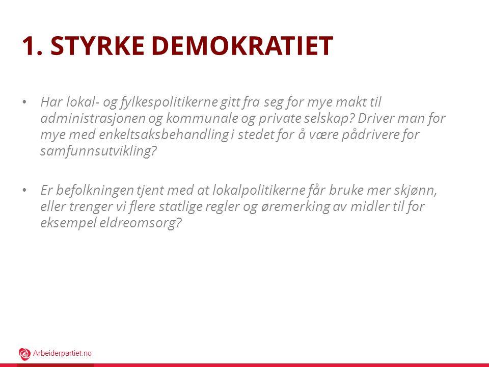 Arbeiderpartiet.no 1. STYRKE DEMOKRATIET • Har lokal- og fylkespolitikerne gitt fra seg for mye makt til administrasjonen og kommunale og private sels