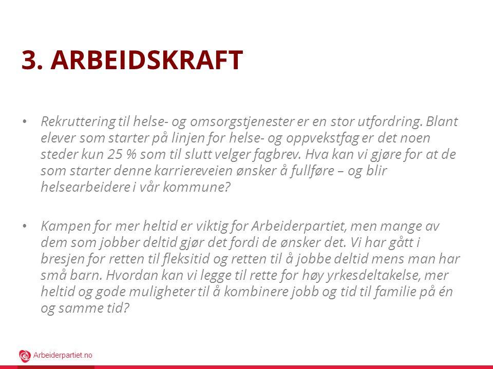Arbeiderpartiet.no 3. ARBEIDSKRAFT • Rekruttering til helse- og omsorgstjenester er en stor utfordring. Blant elever som starter på linjen for helse-