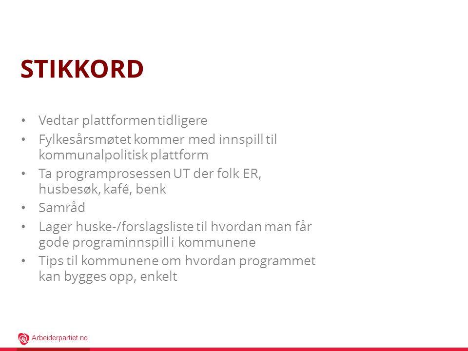 Arbeiderpartiet.no STIKKORD • Vedtar plattformen tidligere • Fylkesårsmøtet kommer med innspill til kommunalpolitisk plattform • Ta programprosessen U