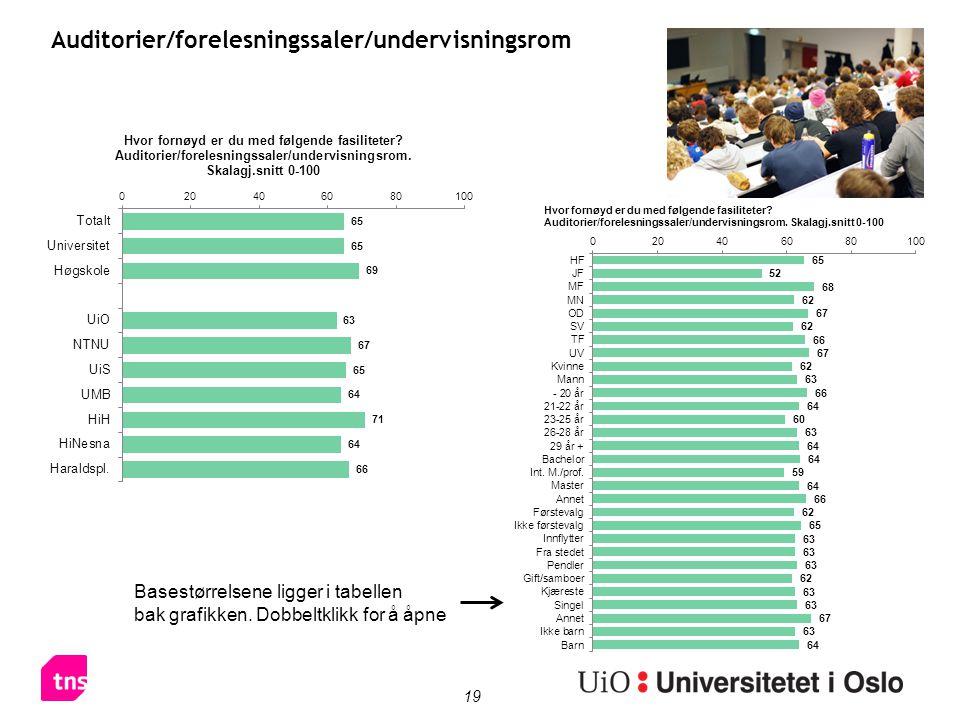 19 Auditorier/forelesningssaler/undervisningsrom Basestørrelsene ligger i tabellen bak grafikken.