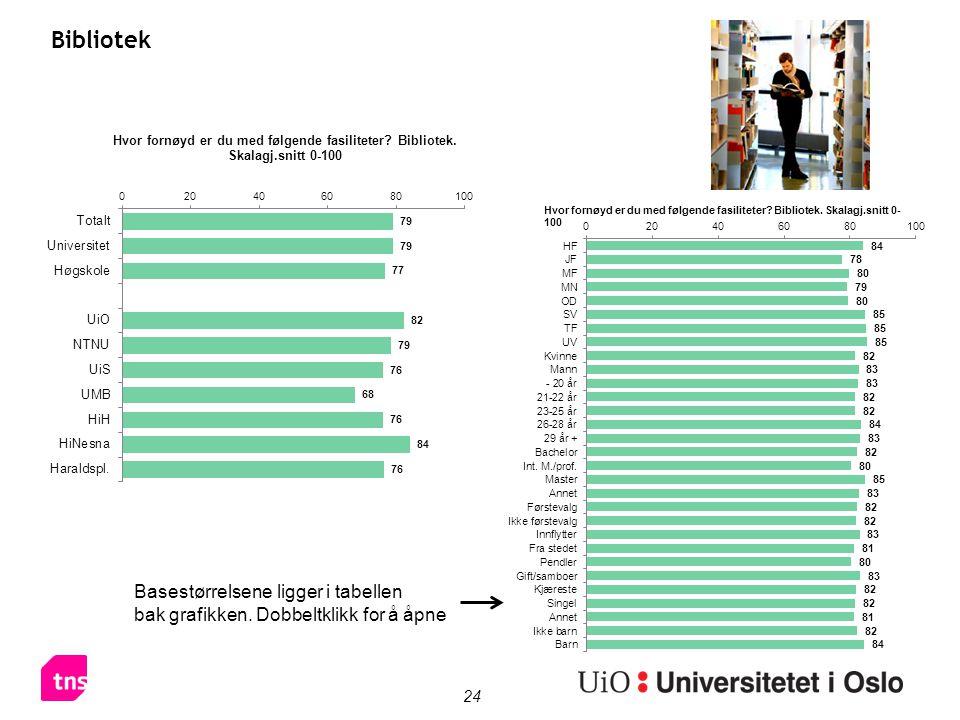 24 Bibliotek Basestørrelsene ligger i tabellen bak grafikken. Dobbeltklikk for å åpne