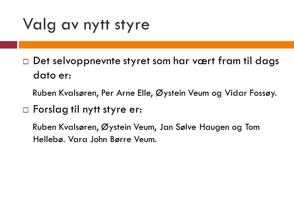 Valg av nytt styre  Det selvoppnevnte styret som har vært fram til dags dato er: Ruben Kvalsøren, Per Arne Elle, Øystein Veum og Vidar Fossøy.  Fors
