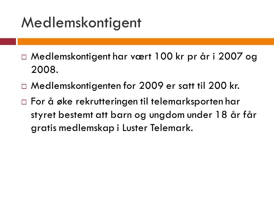 Medlemskontigent  Medlemskontigent har vært 100 kr pr år i 2007 og 2008.  Medlemskontigenten for 2009 er satt til 200 kr.  For å øke rekrutteringen