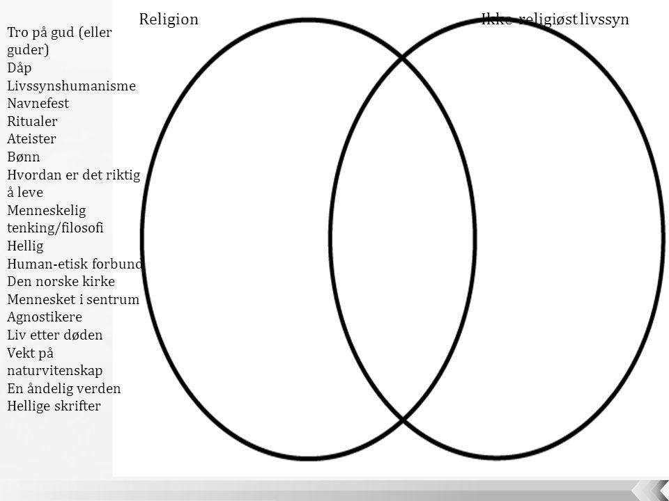 ReligionIkke-religiøst livssyn Tro på gud (eller guder) Dåp Livssynshumanisme Navnefest Ritualer Ateister Bønn Hvordan er det riktig å leve Menneskeli
