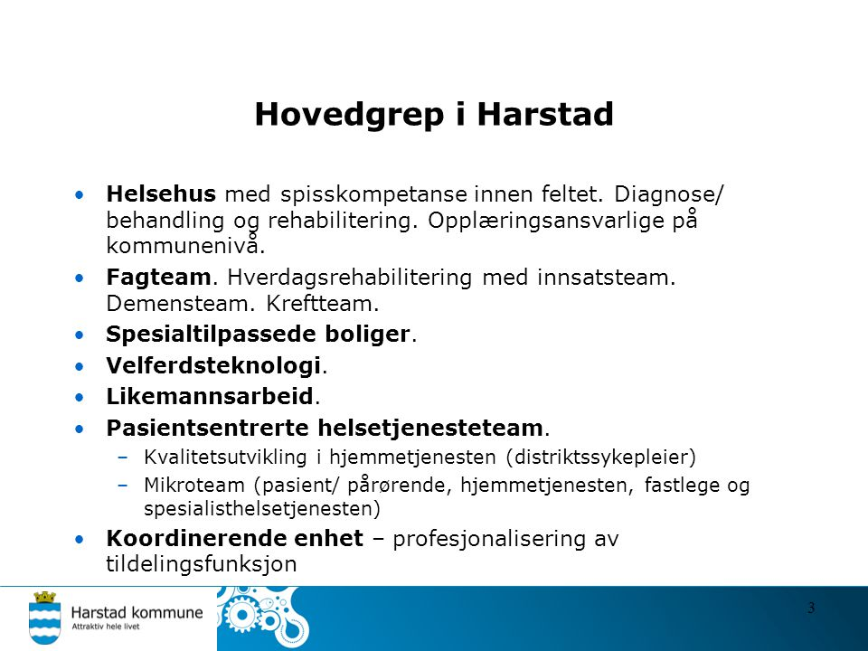 Hovedgrep i Harstad •Helsehus med spisskompetanse innen feltet. Diagnose/ behandling og rehabilitering. Opplæringsansvarlige på kommunenivå. •Fagteam.