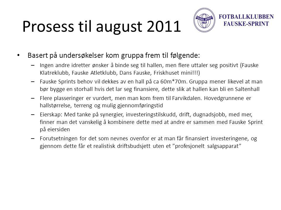 Prosess til august 2011 • Basert på undersøkelser kom gruppa frem til følgende: – Ingen andre idretter ønsker å binde seg til hallen, men flere uttale