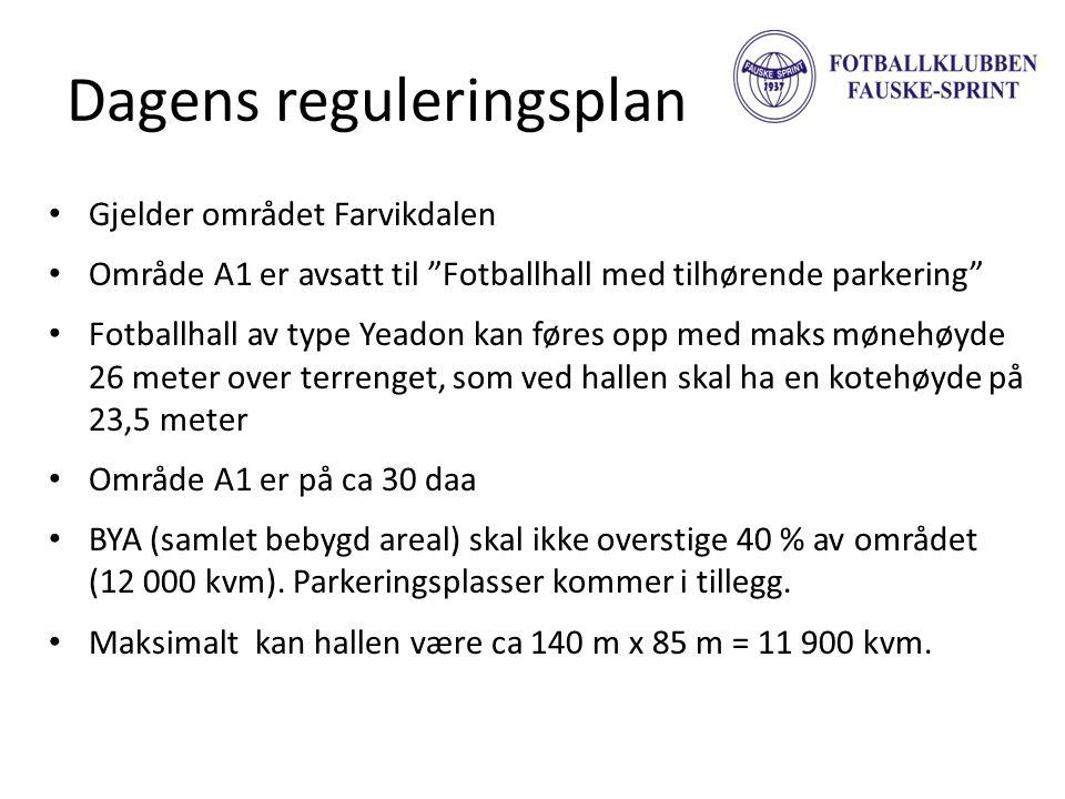 """Dagens reguleringsplan • Gjelder området Farvikdalen • Område A1 er avsatt til """"Fotballhall med tilhørende parkering"""" • Fotballhall av type Yeadon kan"""