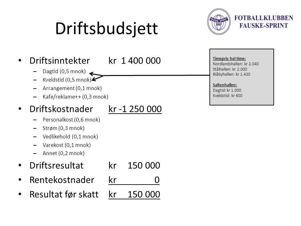 Driftsbudsjett • Driftsinntekterkr 1 400 000 – Dagtid (0,5 mnok) – Kveldstid (0,5 mnok) – Arrangement (0,1 mnok) – Kafe/reklame++ (0,3 mnok) • Driftsk