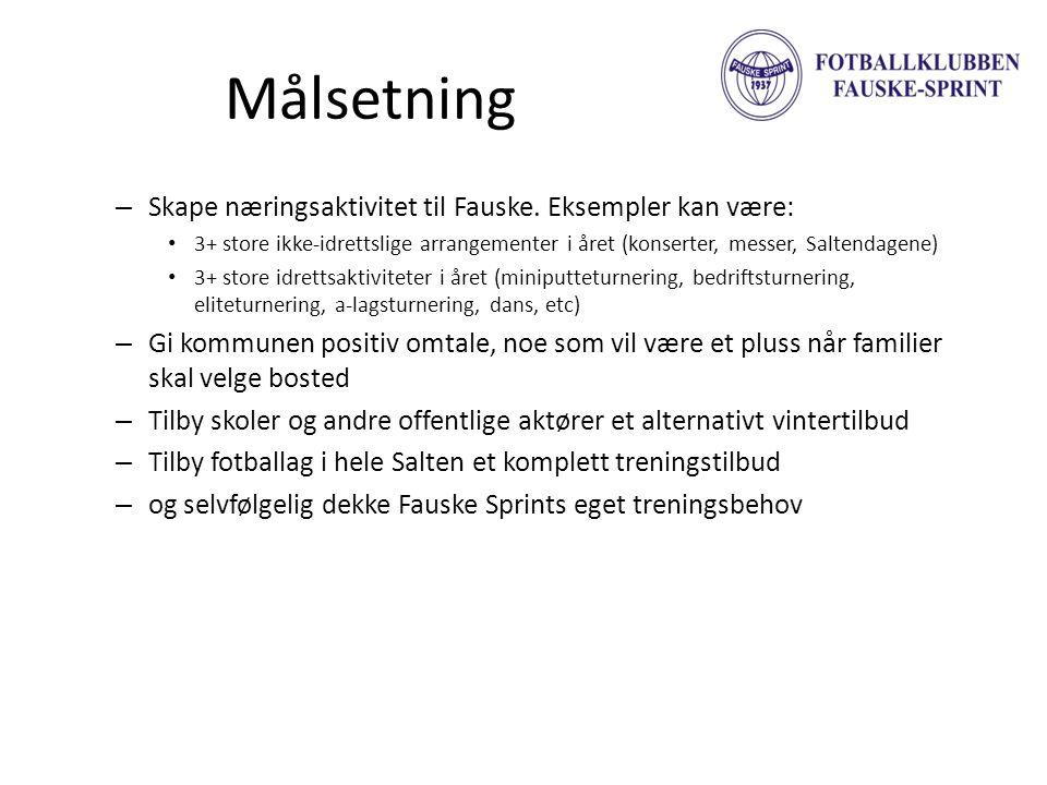 Målsetning – Skape næringsaktivitet til Fauske. Eksempler kan være: • 3+ store ikke-idrettslige arrangementer i året (konserter, messer, Saltendagene)