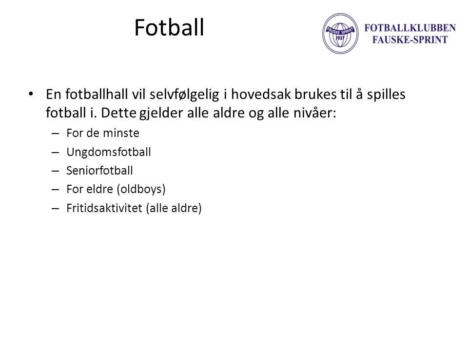 Fotball • En fotballhall vil selvfølgelig i hovedsak brukes til å spilles fotball i. Dette gjelder alle aldre og alle nivåer: – For de minste – Ungdom