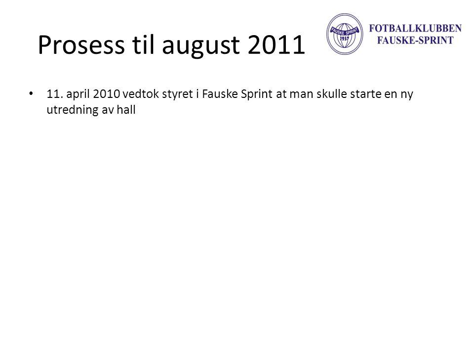 Prosess til august 2011 • 11. april 2010 vedtok styret i Fauske Sprint at man skulle starte en ny utredning av hall
