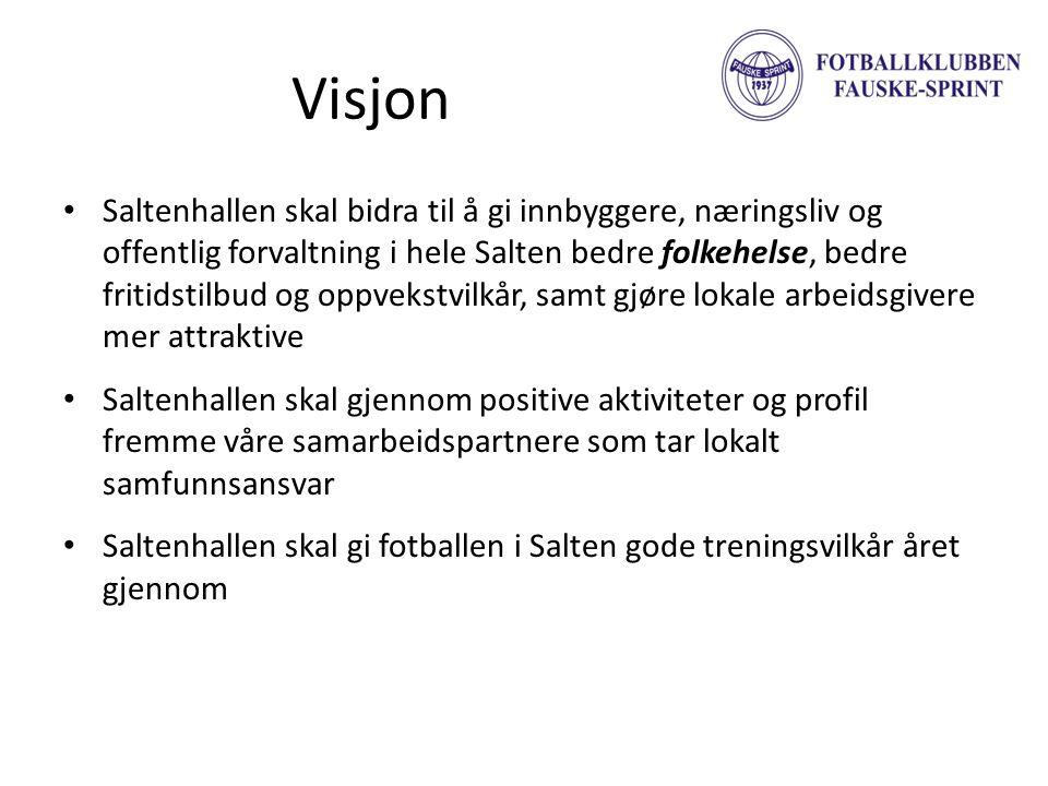 Visjon • Saltenhallen skal bidra til å gi innbyggere, næringsliv og offentlig forvaltning i hele Salten bedre folkehelse, bedre fritidstilbud og oppve