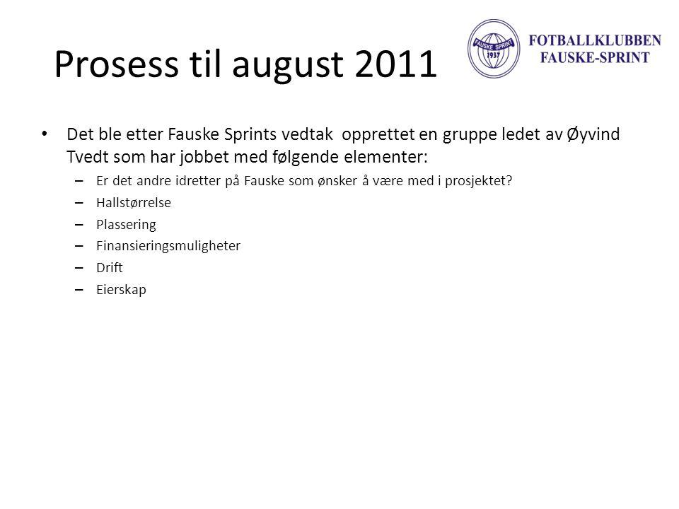 Prosess til august 2011 • Det ble etter Fauske Sprints vedtak opprettet en gruppe ledet av Øyvind Tvedt som har jobbet med følgende elementer: – Er de