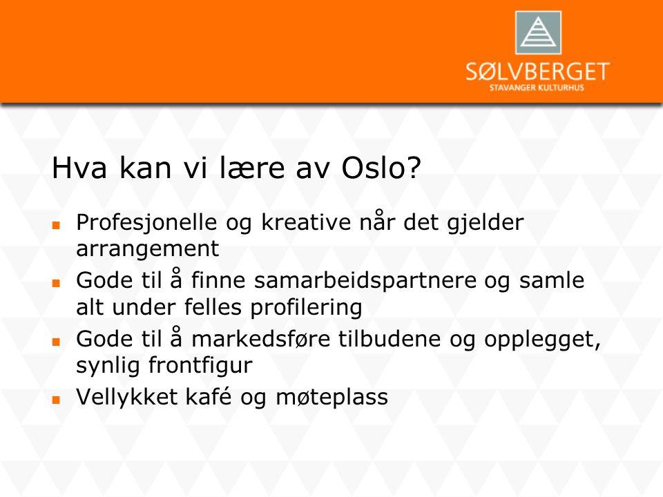 Hva kan vi lære av Oslo?  Profesjonelle og kreative når det gjelder arrangement  Gode til å finne samarbeidspartnere og samle alt under felles profi