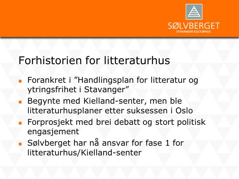 """Forhistorien for litteraturhus  Forankret i """"Handlingsplan for litteratur og ytringsfrihet i Stavanger""""  Begynte med Kielland-senter, men ble litter"""