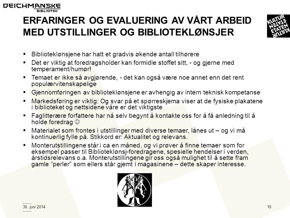 30. juni 201410 ERFARINGER OG EVALUERING AV VÅRT ARBEID MED UTSTILLINGER OG BIBLIOTEKLØNSJER  Biblioteklønsjene har hatt et gradvis økende antall til
