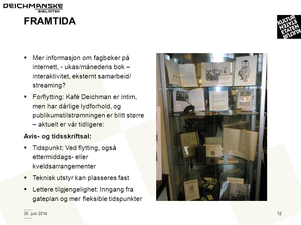 30. juni 201412 FRAMTIDA  Mer informasjon om fagbøker på internett, - ukas/månedens bok – interaktivitet, eksternt samarbeid/ streaming?  Forflyttin