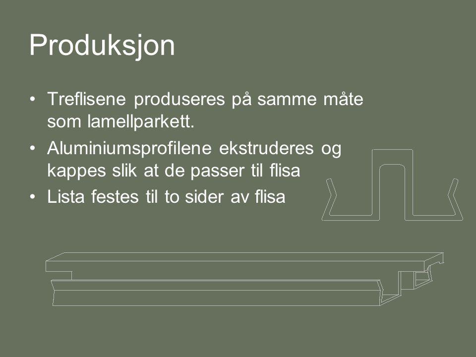 Produksjon •Treflisene produseres på samme måte som lamellparkett. •Aluminiumsprofilene ekstruderes og kappes slik at de passer til flisa •Lista feste