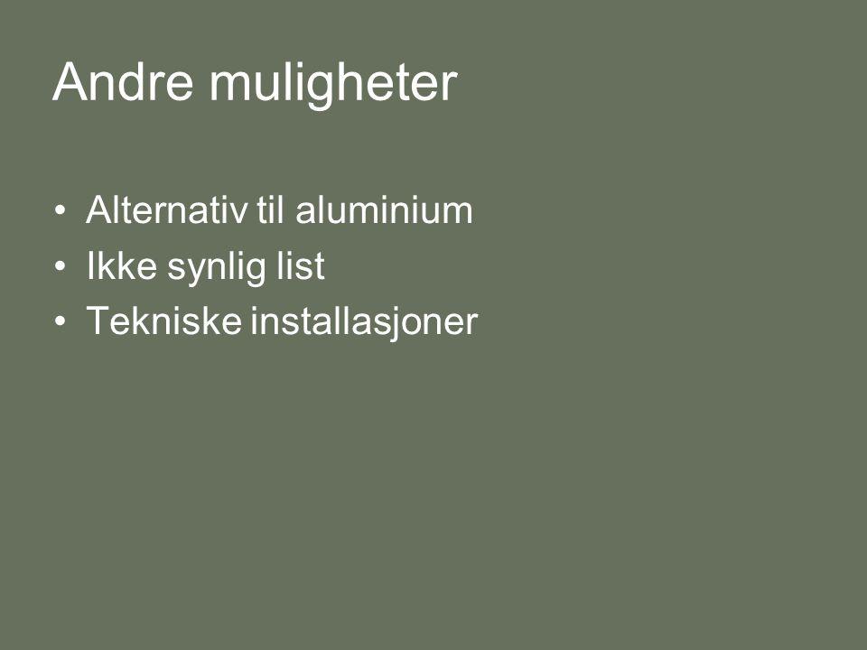 Andre muligheter •Alternativ til aluminium •Ikke synlig list •Tekniske installasjoner