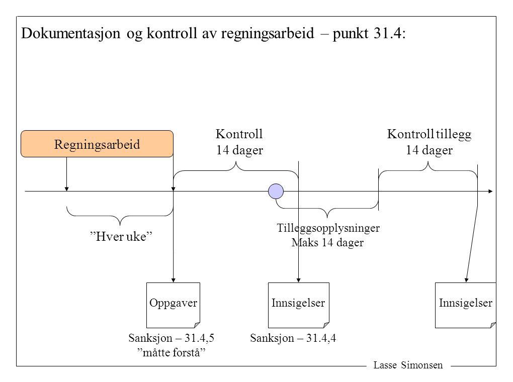 """Lasse Simonsen Dokumentasjon og kontroll av regningsarbeid – punkt 31.4: Regningsarbeid """"Hver uke"""" Oppgaver Kontroll 14 dager Innsigelser Kontroll til"""