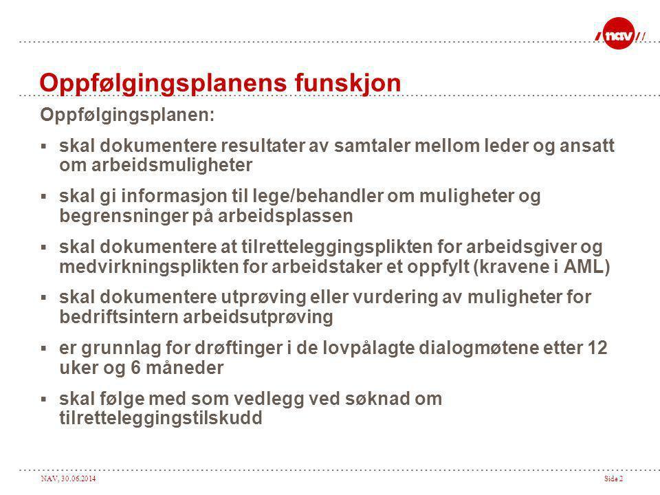 NAV, 30.06.2014Side 2 Oppfølgingsplanens funskjon Oppfølgingsplanen:  skal dokumentere resultater av samtaler mellom leder og ansatt om arbeidsmuligh