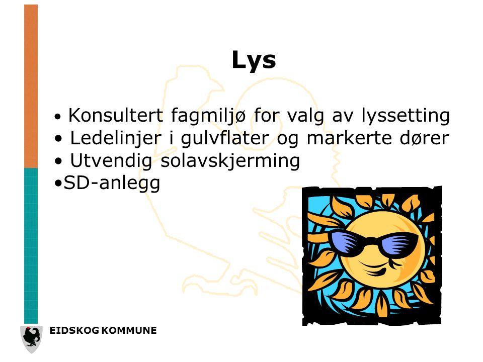EIDSKOG KOMMUNE Lys • Konsultert fagmiljø for valg av lyssetting • Ledelinjer i gulvflater og markerte dører • Utvendig solavskjerming •SD-anlegg