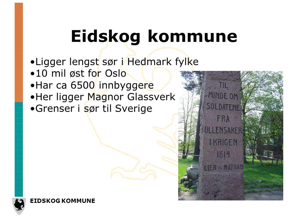 Eidskog kommune •Ligger lengst sør i Hedmark fylke •10 mil øst for Oslo •Har ca 6500 innbyggere •Her ligger Magnor Glassverk •Grenser i sør til Sverige