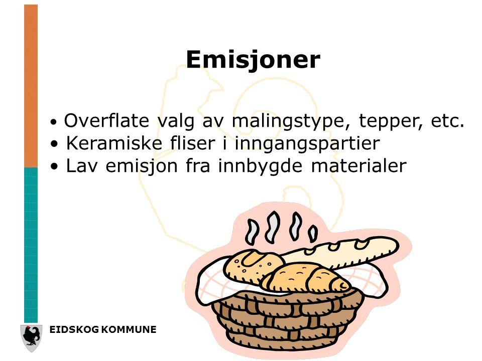 EIDSKOG KOMMUNE Emisjoner • Overflate valg av malingstype, tepper, etc.