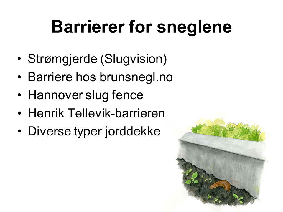 Barrierer for sneglene •Strømgjerde (Slugvision) •Barriere hos brunsnegl.no •Hannover slug fence •Henrik Tellevik-barrieren •Diverse typer jorddekke