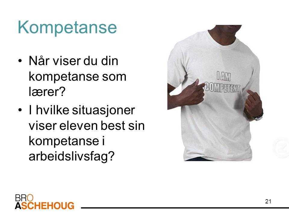Kompetanse •Når viser du din kompetanse som lærer? •I hvilke situasjoner viser eleven best sin kompetanse i arbeidslivsfag? 21